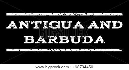 Antigua and Barbuda watermark stamp. Text tag between horizontal parallel lines with grunge design style. Rubber seal stamp with scratched texture.