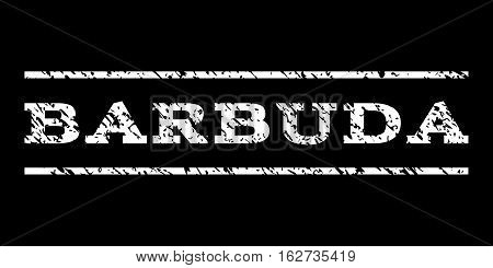 Barbuda watermark stamp. Text tag between horizontal parallel lines with grunge design style. Rubber seal stamp with dirty texture. Vector white color ink imprint on a black background.