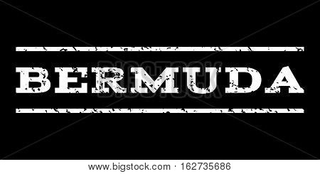 Bermuda watermark stamp. Text tag between horizontal parallel lines with grunge design style. Rubber seal stamp with scratched texture. Vector white color ink imprint on a black background.