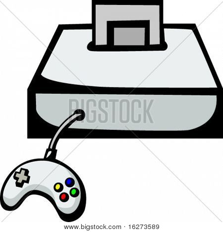 videogame console with gaming cartridge and controller