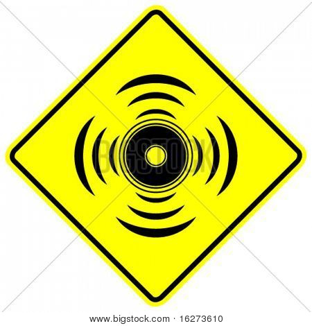 speaker driver with sound waves sign