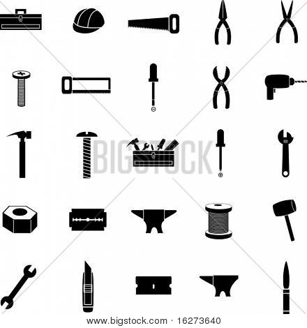 tools and hardware icon set