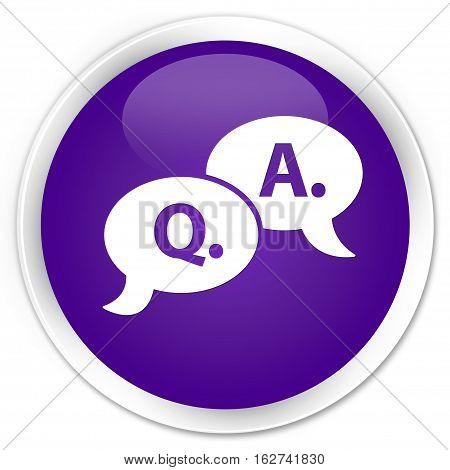 Question Answer Bubble Icon Premium Purple Round Button