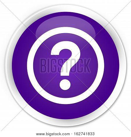 Question Icon Premium Purple Round Button