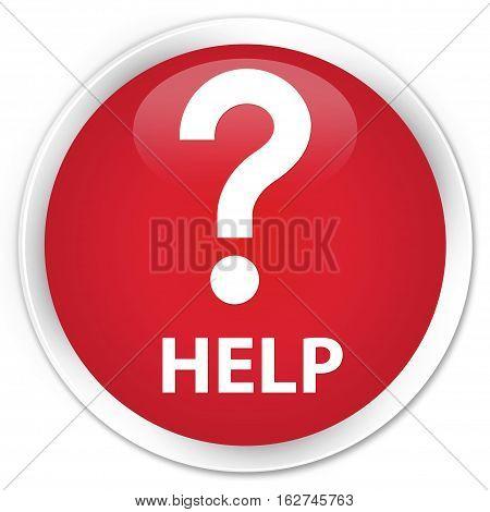Help (question Icon) Premium Red Round Button