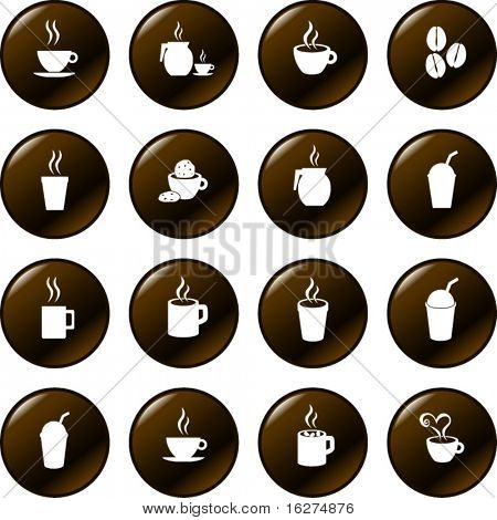 coffee and hot beverages button set
