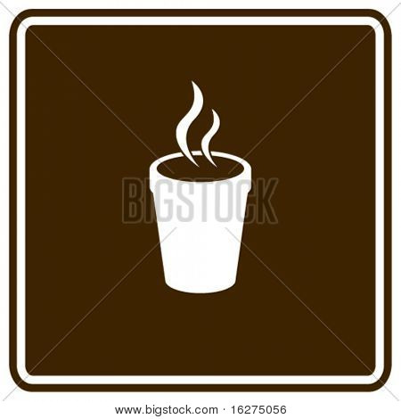 styrofoam cup with hot beverage sign