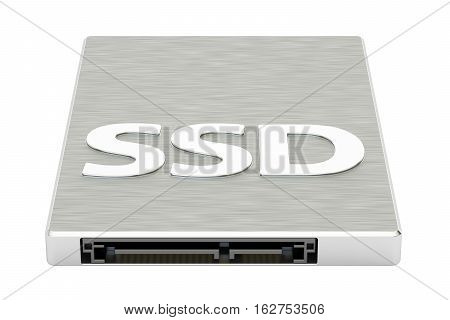 Solid state drive SSD 3D rendering isolated on white background