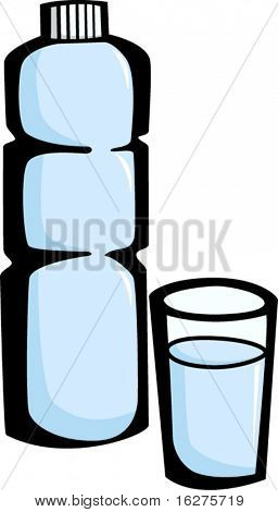 purified bottled water and glass