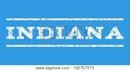 Indiana watermark stamp. Text tag between horizontal parallel lines with grunge design style. Rubber seal stamp with unclean texture. Vector white color ink imprint on a blue background.