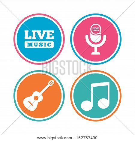 Musical elements icons. Microphone and Live music symbols. Music note and acoustic guitar signs. Colored circle buttons. Vector