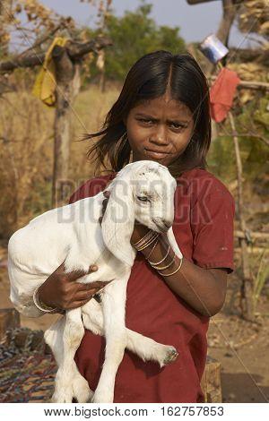 MANDU, MADHYA PRADESH, INDIA - NOVEMBER 19, 2008: Young girl holding a small kid goat in the rural hilltop fortress of Mandu in Madhya Pradesh, India