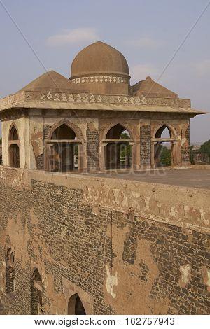 MANDU, MADHYA PRADESH, INDIA - NOVEMBER 18, 2008: Ancient islamic royal palace of Jahaz Mahal. Mandu, Madhya Pradesh, India. 16th Century AD