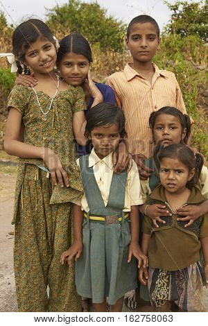 MANDU, MADHYA PRADESH, INDIA - NOVEMBER 19, 2008: Group of children in the hilltop town of Mandu in Madhya Pradesh, India.