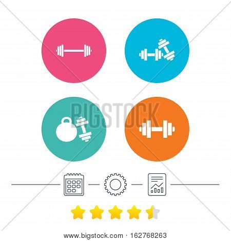 Dumbbells sign icons. Fitness sport symbols. Gym workout equipment. Calendar, cogwheel and report linear icons. Star vote ranking. Vector