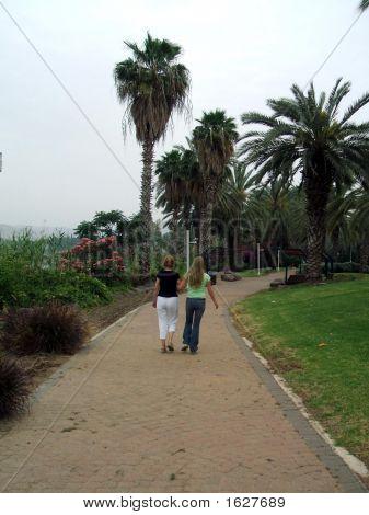 Women/Friends Walking Arm In Arm In Park