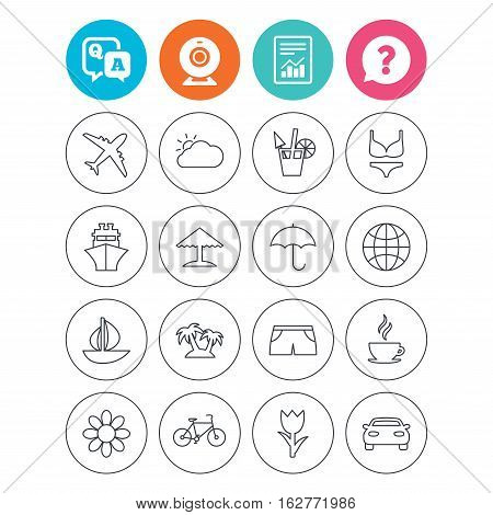 Travel icons. Ship, plane and car transport. Beach umbrella, palms and cocktail. Swimming trunks. Rose or tulip flower. Report document, question and answer icons. Web camera sign. Vector