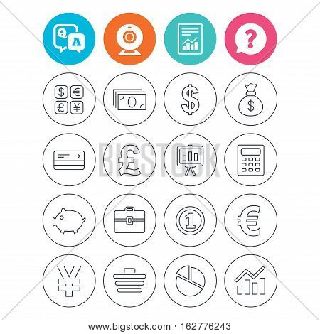 Money and business icons. Cash and cashless money. Usd, eur, gbp and jpy currency exchange. Presentation, calculator and shopping cart symbols. Report document, question and answer icons. Vector
