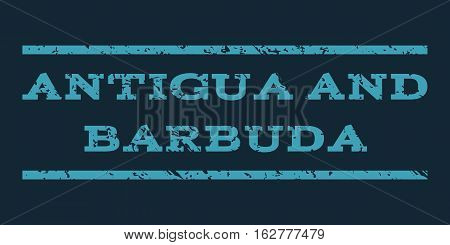 Antigua and Barbuda watermark stamp. Text tag between horizontal parallel lines with grunge design style. Rubber seal stamp with unclean texture.