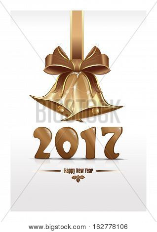 Jingle bells and gold figures 2017. Christmas design. Happy New Year. Vector Christmas card