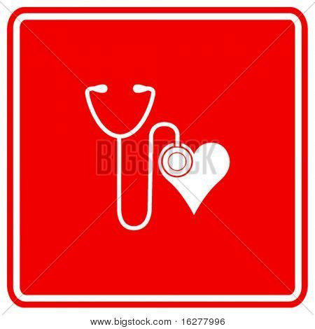 stethoscope and heart sign