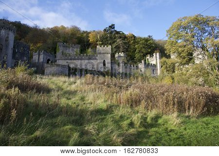 Gwrych Castle In Wales Featuring Autumn Leaves, Brown, Green Colors, Trees, Hill Side And Blue Sky,
