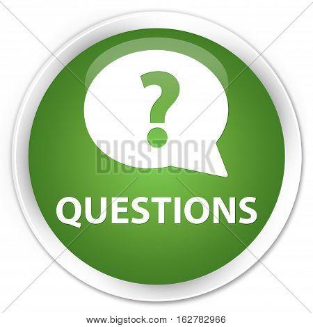 Questions (bubble Icon) Premium Soft Green Round Button