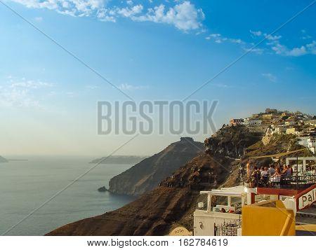 View Of Santorini Mediterranean Sea And Cliffs