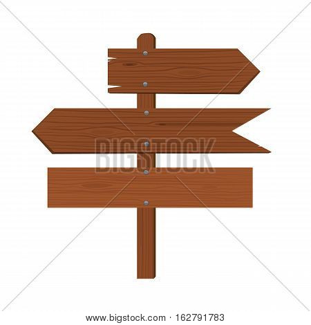 Wooden plates and an index of direction. Arrow signing different directions. Flat color style design.