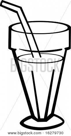 milkshake in glass with drinking straw
