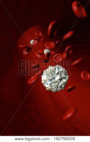 Single Isolated White Blood Cell In Front Of Red Blood Cells Flowing Through An Artery