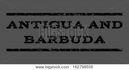 Antigua and Barbuda watermark stamp. Text caption between horizontal parallel lines with grunge design style. Rubber seal stamp with dirty texture. Vector black color ink imprint on a gray background.