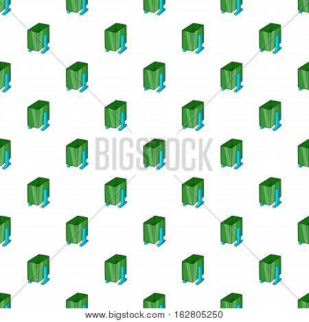 Green trash on legs pattern. Cartoon illustration of green trash on legs vector pattern for web
