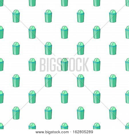 Green trash can pattern. Cartoon illustration of green trash can vector pattern for web