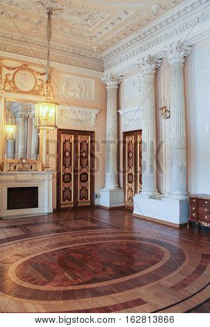 Gatchina, Russia - 3 December, Parquet marble dining room, 3 December, 2016. Visit the Museum Reserve Gatchina Palace.
