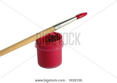 Art Paintbrush With Red Paint