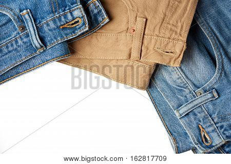 Colorful jeans frame isolated on white background with copy space