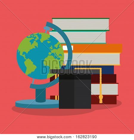 Books and planet sphere icon. Science laboratory chemistry and research theme. Colorful design. Vector illustration