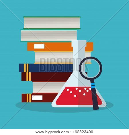 Books flask and lupe icon. Science laboratory chemistry and research theme. Colorful design. Vector illustration
