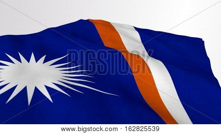 Marshall Islands Flag Waving on an angle over white background. Part of a set