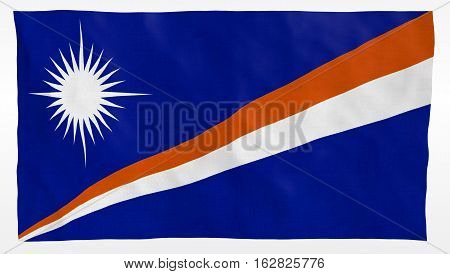 Marshall Islands Flag Waving over white background. Part of a set
