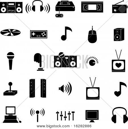 entertainment technology icons set