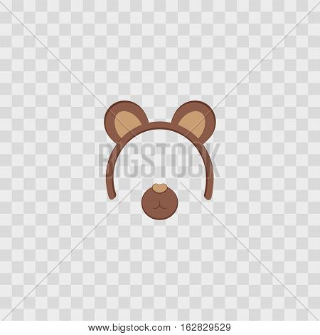 Bear ears mask isolated on transparent checkered vector illustration. Cartoon Cute Headband with Ears.