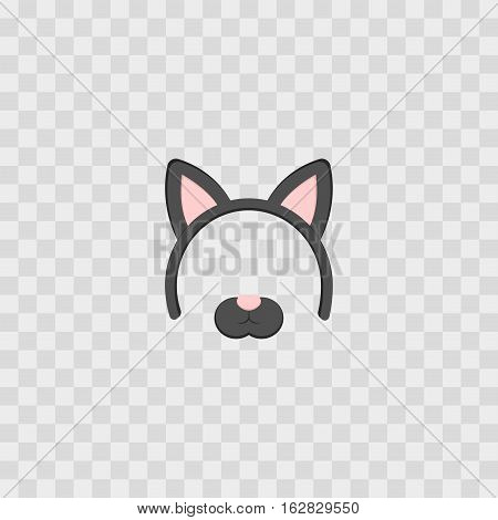 Mask with cat ears isolated on transparent checkered vector illustration. Cartoon Cute Headband with Ears