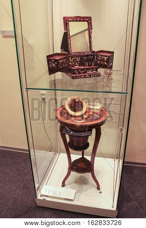 Gatchina, Russia - 3 December, Exposition of antiquities toilet, 3 December, 2016. Visit the Museum Reserve Gatchina Palace.