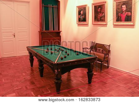 Gatchina, Russia - 3 December, Billiard Room Gatchina Palace, 3 December, 2016. Visit the Museum Reserve Gatchina Palace.