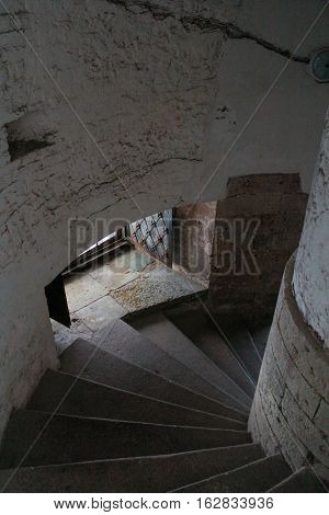 Gatchina, Russia - 3 December, Old staircase in the tower of the Gatchina Palace, 3 December, 2016. Visit the Museum Reserve Gatchina Palace.