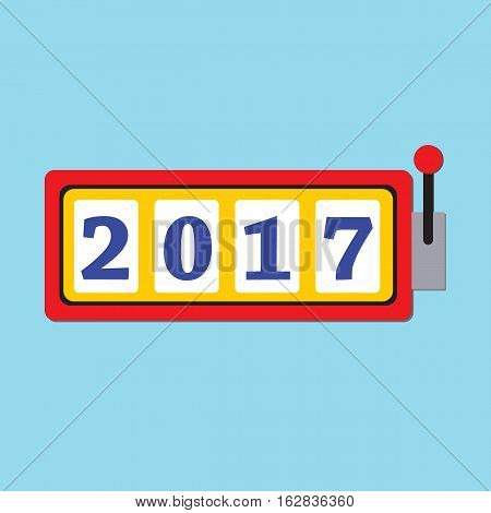 Happy New Year 2017 greeting card with slot machine and lucky 2017 figures.