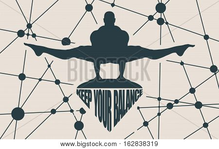 Balance keeping. Bodybuilder silhouette posing. Keep your balance text. Molecule And Communication Background. Vector brochure or report design template. Connected lines with dots.