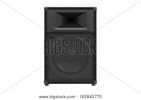 Speaker audio loud music for rock and disco, front view. 3D rendering